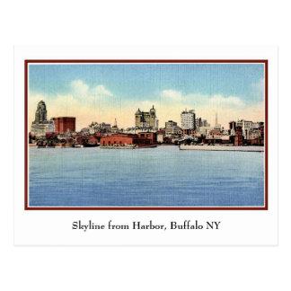 Vintage Skyline From Harbor, Buffalo NY Postcard