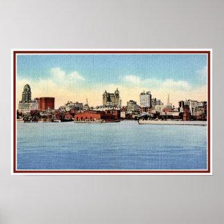 Vintage Skyline From Harbor, Buffalo NY Poster
