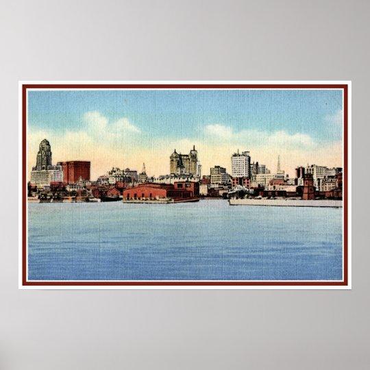 Vintage Skyline From Harbor Buffalo Ny Poster Zazzle Com