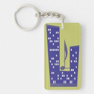 Vintage Skysraper Music Note Purple Chartruese Keychain