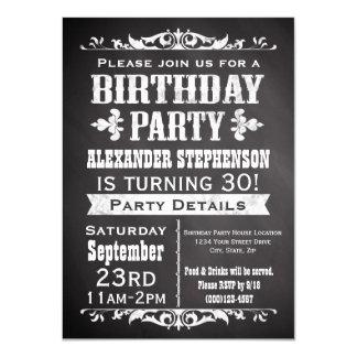 Vintage Slate Chalkboard Birthday Party Invitation
