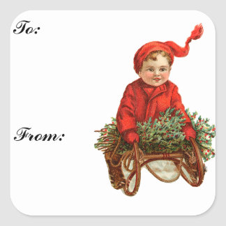 Vintage Sled and Child Gift Tag Sticker