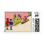 Vintage Sledding Stamp
