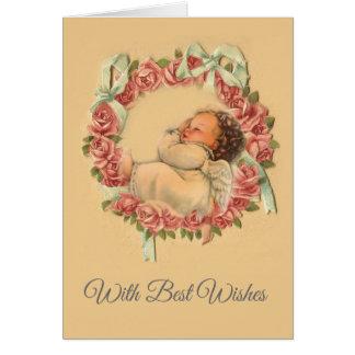 Vintage Sleeping Baby Angel Valentine Card