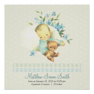 Vintage Sleeping Baby Personalized Birth Poster