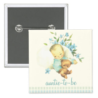 Vintage Sleeping Baby Shower Auntie to Be Custom 2 Inch Square Button
