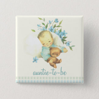 Vintage Sleeping Baby Shower Auntie to Be Custom Pinback Button