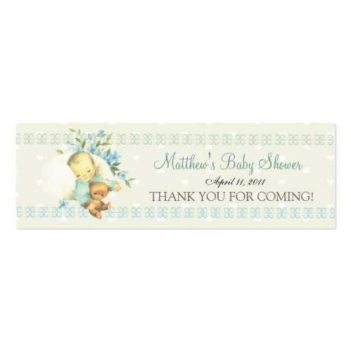 Vintage Sleeping Baby Shower Custom Favor Tag Business Card Templates