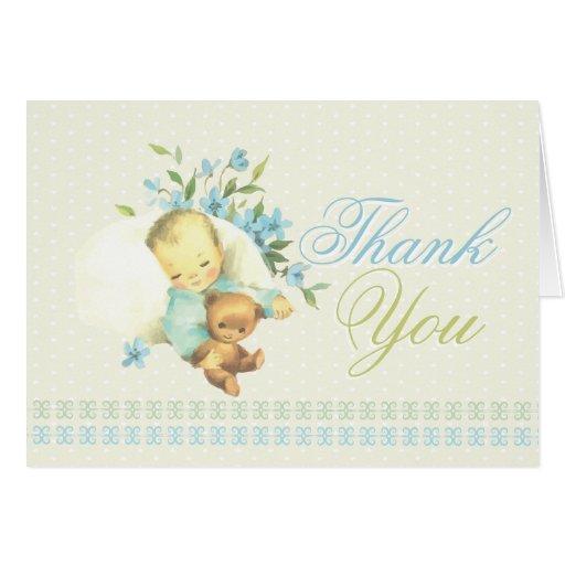 Vintage Baby Shower Thank You Cards: Vintage Sleeping Baby Shower Custom Thank You Card