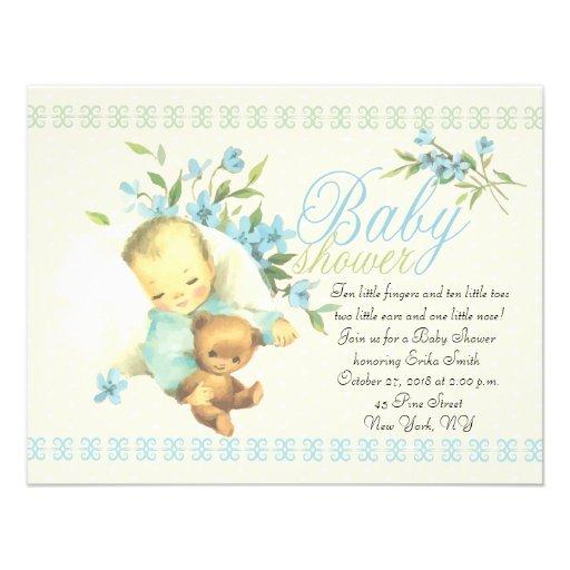 vintage sleeping baby shower paper invitation card zazzle