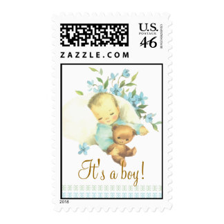 Vintage Sleeping Baby Shower It s a Boy Custom Stamp