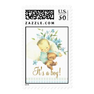 Vintage Sleeping Baby Shower It's a Boy Custom Postage