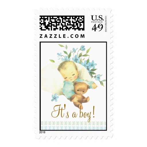 Vintage Sleeping Baby Shower It's a Boy Custom Stamp
