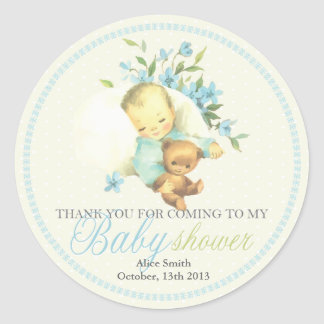 Vintage Sleeping Baby Shower Personalized Favor Classic Round Sticker