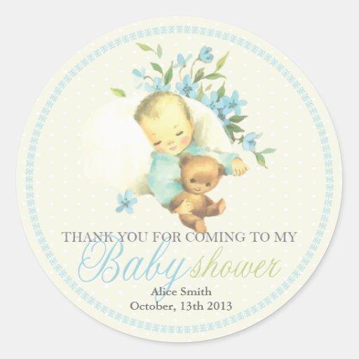 Vintage Sleeping Baby Shower Personalized Favor Round Sticker