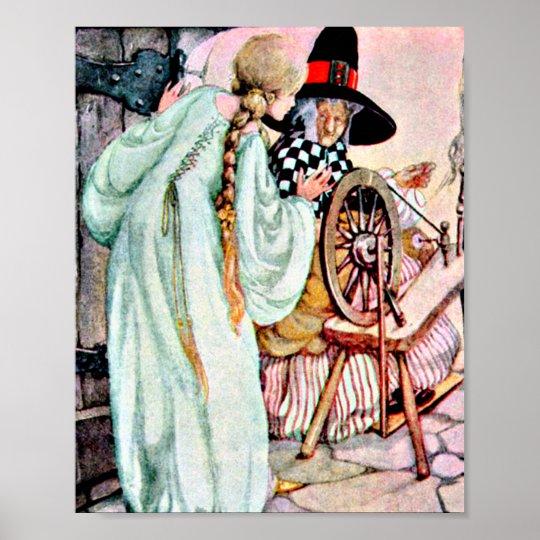 f0b8576889a26 Vintage Sleeping Beauty Briar Rose Illustration Poster