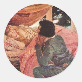 Vintage Sleeping Beauty by Jessie Willcox Smith Classic Round Sticker