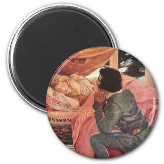 Vintage Sleeping Beauty by Jessie Willcox Smith 2 Inch Round Magnet