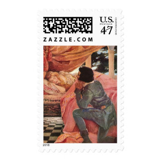 Vintage Sleeping Beauty by Jessie Willcox Smith Postage Stamp