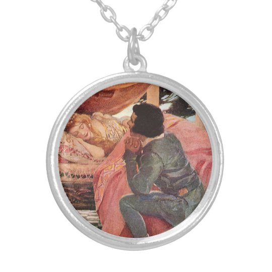 Vintage Sleeping Beauty by Jessie Willcox Smith Silver Plated Necklace