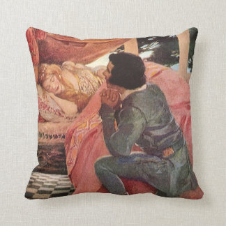 Vintage Sleeping Beauty by Jessie Willcox Smith Throw Pillow