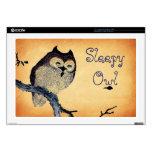 "Vintage Sleepy Owl 17"" Laptop Decal"
