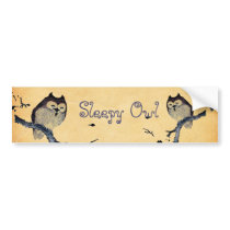 Vintage Sleepy Owl Bumper Sticker