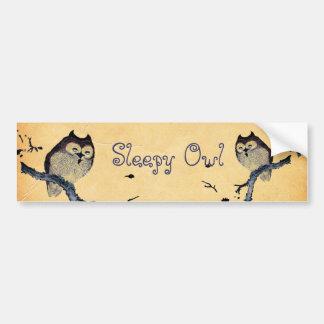 Vintage Sleepy Owl Car Bumper Sticker
