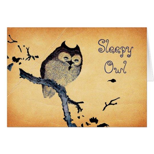 Vintage Sleepy Owl Card