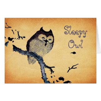 Vintage Sleepy Owl Greeting Card