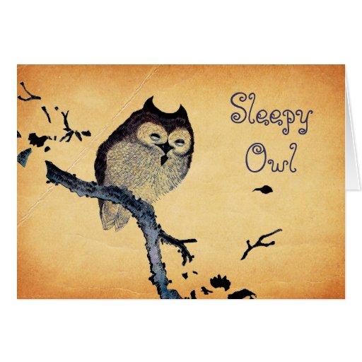Vintage Sleepy Owl Greeting Cards