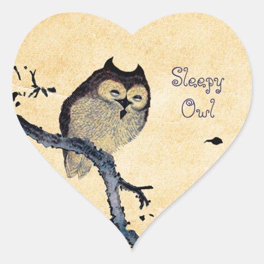 Vintage Sleepy Owl Heart Sticker