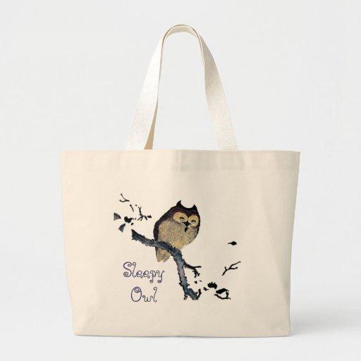 Vintage Sleepy Owl Jumbo Tote Bag