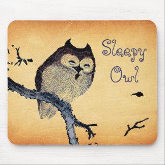 Vintage Sleepy Owl Mouse Pad
