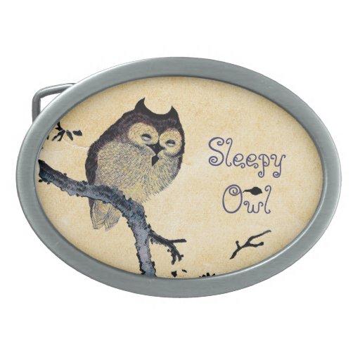 Vintage Sleepy Owl Oval Belt Buckle