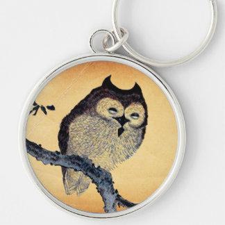 Vintage Sleepy Owl Silver-Colored Round Keychain
