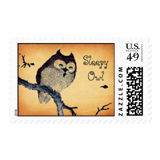 Vintage Sleepy Owl Stamp