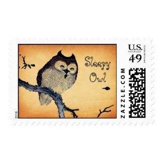 Vintage Sleepy Owl Stamps