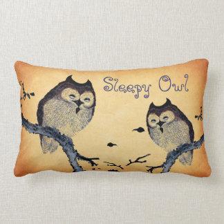 Vintage Sleepy Owl Throw Pillow