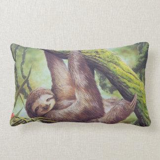 Vintage Sloth Illustration Lumbar Pillow