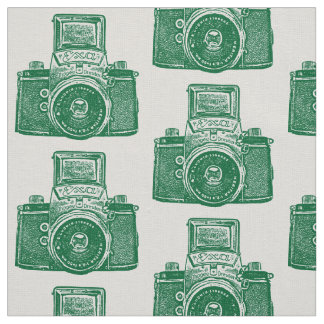 Vintage SLR Camera - Forest Green on White Fabric