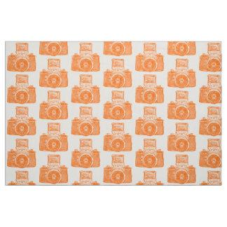 Vintage SLR Camera - Orange on White Fabric