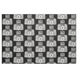 Vintage SLR Camera - White on Black Fabric
