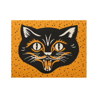 Vintage Smiling Black Orange Halloween Cat Face Wood Poster
