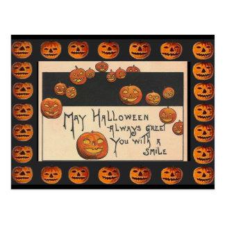 Vintage Smiling Halloween Jack o Lanterns Post Cards