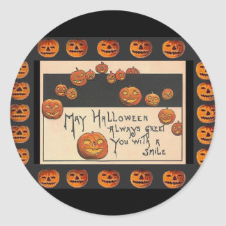Vintage Smiling Halloween Jack o Lanterns Round Sticker