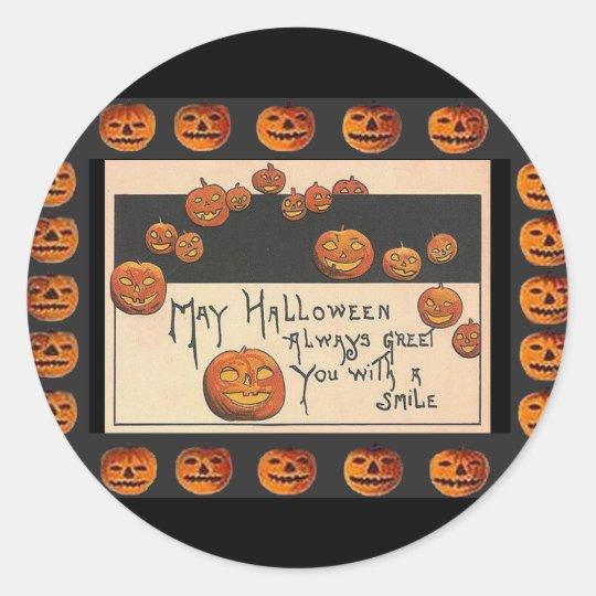 Vintage Smiling Halloween Jack o'Lanterns Classic Round Sticker
