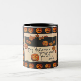 Vintage Smiling Halloween Jack o'Lanterns Two-Tone Coffee Mug