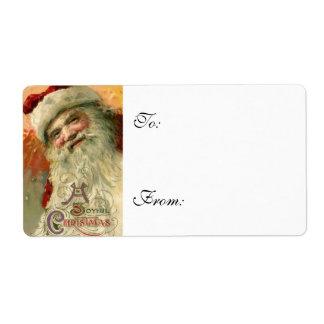 Vintage Smiling Santa Christmas Gift Labels