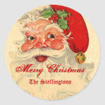 Vintage Smiling Santa Christmas Holiday Gift 5 Round Stickers